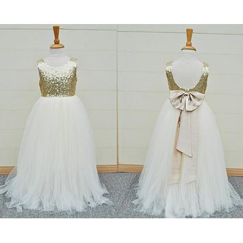Gold Sequins Flower Girls Dress Baby Infant Toddler Kids Dress Junior Floor-Length For Wedding Pageant Tulle Gowns