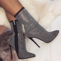 Female hot style hot sell pointed water drill high heel boots autumn and winter