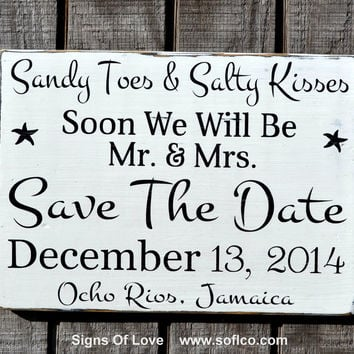 Sandy Toes And Salty Kisses Save The Date Mr Mrs Beach Wedding Decor Signs Personalized Hand Painted