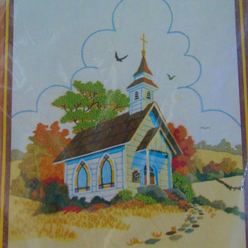 Country Church Barbara Jennings Design  1980 Vintage Sunset Stitchery Crewel Embroidery Kit No 2479