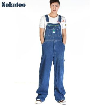 Sokotoo Men's casual loose green zipper bib overalls Male plus large size denim jumpsuits Huge pants Free shipping