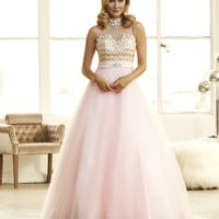 Mac Duggal 48210H Jeweled High Neck Ball Gown Prom Dress $475