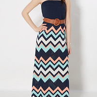Navy Belted Chevron Maxi Dress