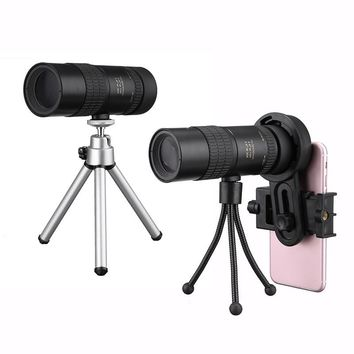 High Quality 10-30x Telephoto Telescope Monocular Camera Lens+ Cell Phone Clip +Tripod Stand for Outdoor Activities Hunting