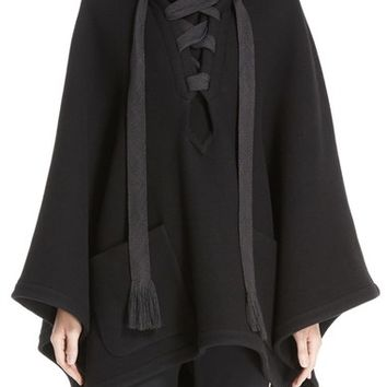 Chloé Tie Front Hooded Cape | Nordstrom