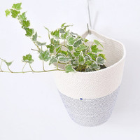 Cotton Cord hanging pot with colour stitching in Mediterranean blue