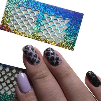 1 Sheet New Reusable Stamping Nail Art Hollow Sticker Laser Silver Vinyls Grid Pattern Templates Stencil Guide Manicure BESTZK01