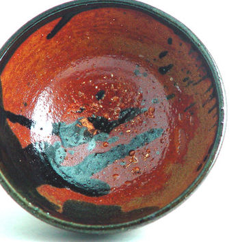 "5 Inch Cereal Bowl, Orange & Black colors, ""Tiger Lily"", Kitchen Serving dish or Ring Holder, Wheel Thrown stoneware pottery ceramic"