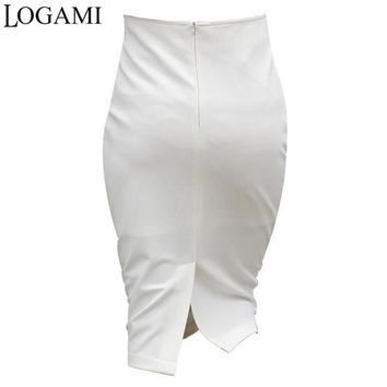 Women High Waist White/Black Pencil Wrap Skirt Plus Size Split Skirts Knee Length OL Work Wear Jupe Faldas Taille Haute