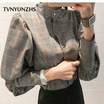 CREYLD1 2018 Gray Bow Long Sleeve Plaid Fashion Blouse Spring Lantern Sleeve Loose Tops Women Mandarin Collar Button Fly Fitness Blouse