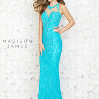 Lace Covered Madison James Long Prom Gown 15-151