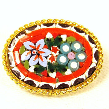 Micro Mosaic Brooch Pin - Goldtone Red Flower Bouquet