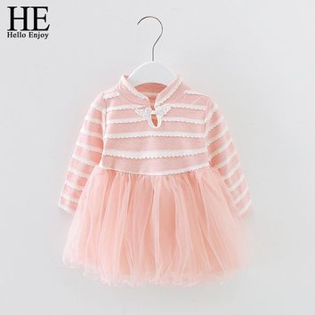 Baby girl dress autumn girl clothes long sleeve collar lace striped stitching mesh dress for first birthday party