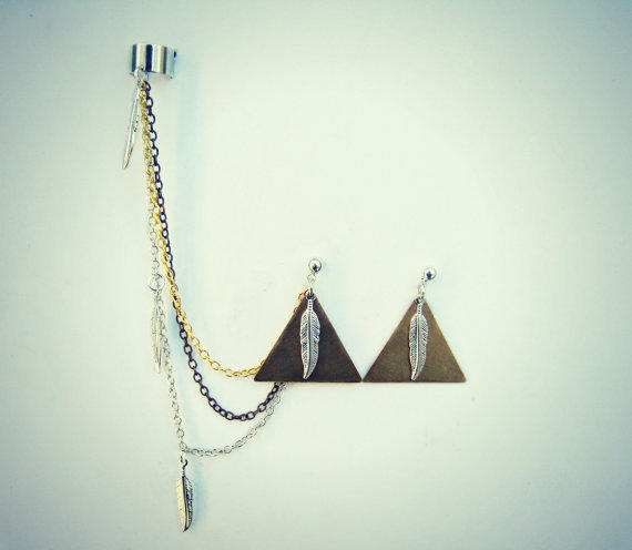 triangle and feather ear cuff and earrings