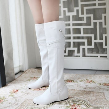 Buckle Over the Knee Boots PU Leather Zipper Shoes Woman