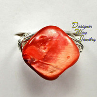 DWJ0188 Gorgeous Sunset Sky Abalone Wire Wrapped Ring All Sizes