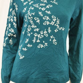 Charter Club Women Green Layered-Look Embroidered Sweater Top XL