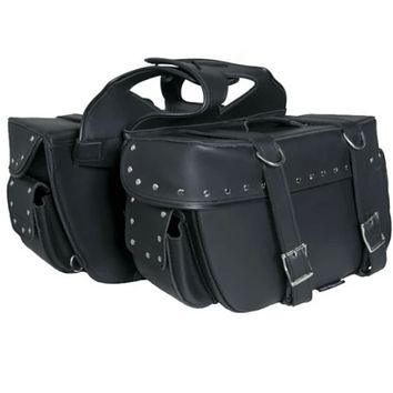 Durable 2 Strap Saddle Bag With Studs By Daniel Smart