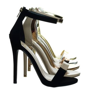 Kismet Black Patent By Delicacy, High Heel Open Toe Stilettos, Women's Fashion Ankle Strap Sandal