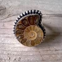 Fossil Ammonite Boho, ring silver ring Ammonite Gypsy, free people, ethnic silver ring