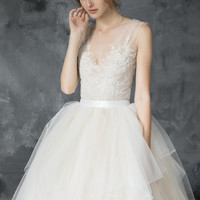 Volumetric champagne tulle gown, hand embroidered lace top, bridal gown // Calypso Daylight