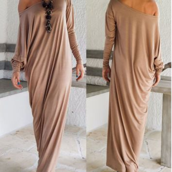 Off Shoulder Long Sleeves Loose Maxi Dress