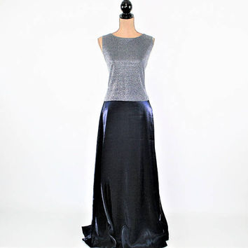 Floor Length Sleeveless Formal Dress Silver Blue Iridescent Maxi Long Evening Dress Sparkly Size 12 Dress Vintage Clothing Womens Clothing