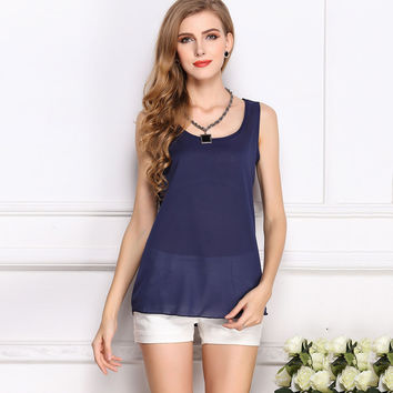 2017 Summer Tops T-Shirt Women Candy Color Upperwear Sling Render Sleeveless Fashion Chiffon Top Tees Simple Style