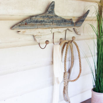 Wooden Shark Coat Rack
