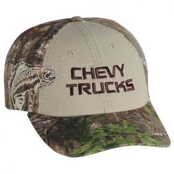 Chevy Trucks Camo/Tan new ball cap w/Trout Patch by Realtree w/tags