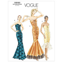 Fit & Flare Mermaid DRESS PATTERN Evening Cocktail Strapless Gown Vogue 8190 UNCUT Women's Sewing Patterns Bust 31.5 32.5 34 Size 8 10 12