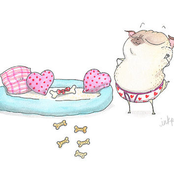 Date Night Pug Card by InkPug!