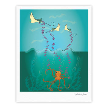 "Famenxt ""Octopus Flying Manta Rays"" Teal Green Fine Art Gallery Print"