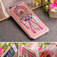 Blinking Rhinestone TPU Silicone Soft Girl Women Style Back Cover Case For Apple iPhone 6 6S / Plus Phone Case With Dust Plug