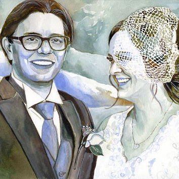 SPECIAL WEDDING GIFT for a couple-  Custom watercolor portrait painting