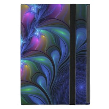 Colorful Luminous Abstract Blue Pink Green Fractal iPad Mini Covers
