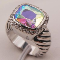 Rose Rainbow Mystic Simulated Topaz Sterling Silver Ring