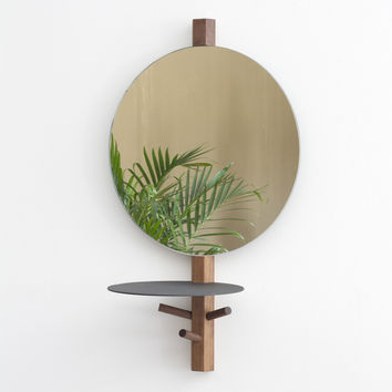 Lonewa - Hex Vanity Mirror in Walnut