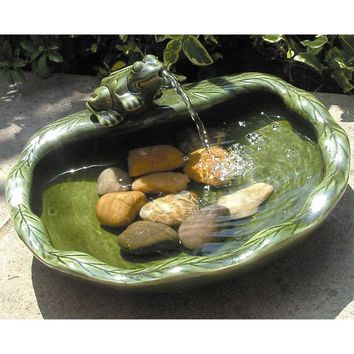 Green Glazed Ceramic Fountain Bird Bath with Frog & Solar Pump