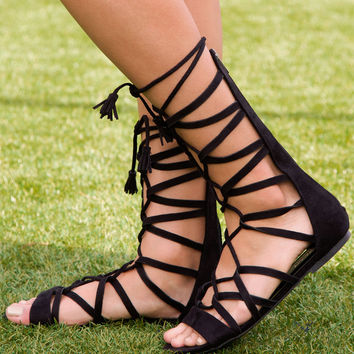 Sandra Suede Gladiator Sandals - Black