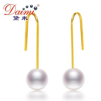 Simple Elegant Earrings 7-8mm Round Freshwater Pearl Earrings 925 Silver Drop Earrings