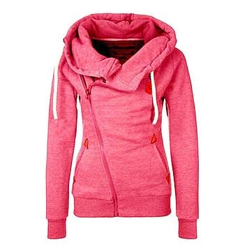 Side zip athletic womens hoodie pocketed running sweat shirt semi fitted