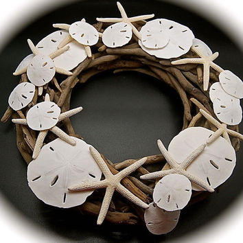 "Driftwood Wreath or Centerpiece with Sand Dollars and Starfish 13"" Diam. 3"" tall Beach wedding Centerpiece or Beautiful driftwood  Wreath"