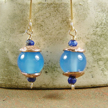 Blue Opal Drop Earrings with Lapis and Rose Gold Bead Caps, Chinese Lantern, Gold Drop Earrings, Artisan Gold Drop Earrings