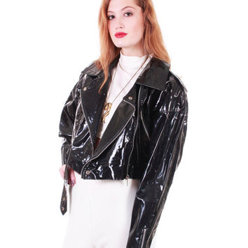 80s Vintage Vinyl Moto Jacket Black Shiny Wet Look PVC Raincoat Wippette Zippered Cropped Motorcycle Biker Babe Women Size Large