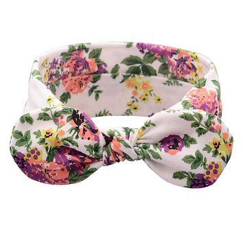 1PC Retro Vintage Lovely Girl Aqua Floral Headband Bow Knot Hairband Elastic Turban Headwrap Rabbit Ears Hair Band Accessories