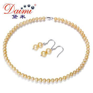 [Daimi] Champagne Color Pearl Jewelry Sets, Necklace & Earrings Natural Freshwater Pearl Jewelry Gifts for Women