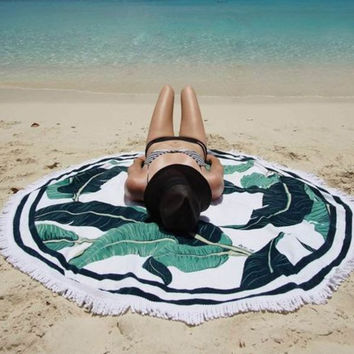 Boho Palm Tree Beach Towel Printed Scarves Wrap Pareo