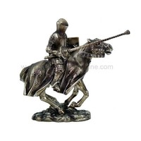 Medieval Knight Jousting with Lance on Horse Statue - 8555