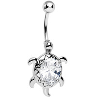 Crystalline Gem Swimming Turtle Belly Ring | Body Candy Body Jewelry